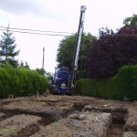 Clearing ground and digging foundations